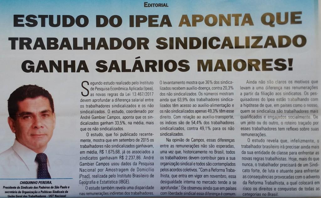 TRABALHADOR SINDICALIZADO GANHA SALÁRIOS MAIORES